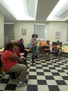 Eileen Markey from Community Power North Bronx speaking to a group of moms about the closure of L&D at NCBH.